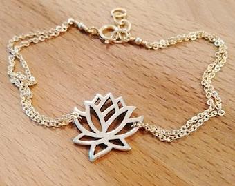 Dainty Lotus Bracelet, Lotus Flower Charm, Lotus Jewelry, Gold Lotus Anklet, Yoga Jewelry, Sterling Silver Lotus, Delicate Anklet, Bracelet