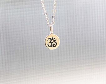 Ohm Necklace, Tiny Om Charm, Gold Filled Necklace - Spiritual Yoga Jewelry, Ohm Symbol, Minimal Everyday Necklace