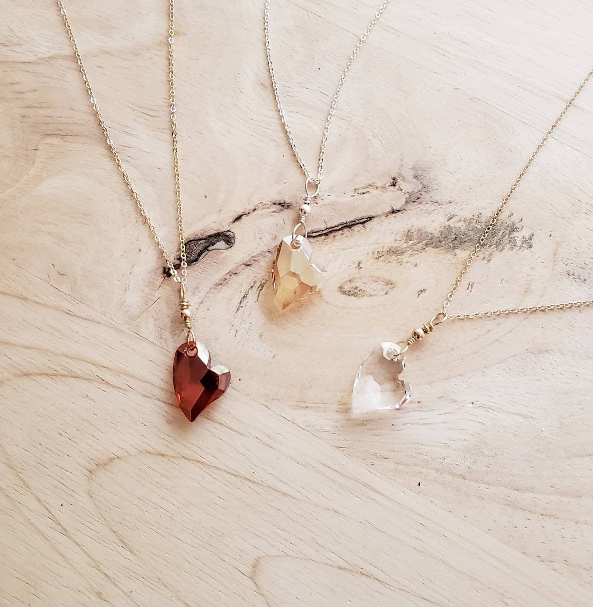 Mothers Day Gift Set of 2 Dainty Crystal and Gold Heart Necklaces Gift For Girlfriend Valentines Day Gift for Her Necklace Gift Set