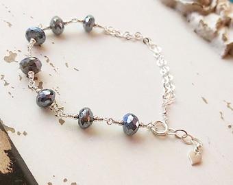 Labradorite Gemstone Bracelet, Sterling Silver, Mystic Labradorite, Wire Wrapped Gemstones, OOAK, Gemstone Jewelry, One of a Kind