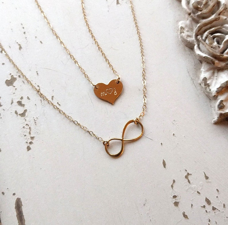 ad96aab19729d Dainty Layering Necklace Set, Heart and Infinity Necklaces, Personalized  Jewelry, Gift for Her, Gift for Mom, Gold, Sterling Silver, Rose