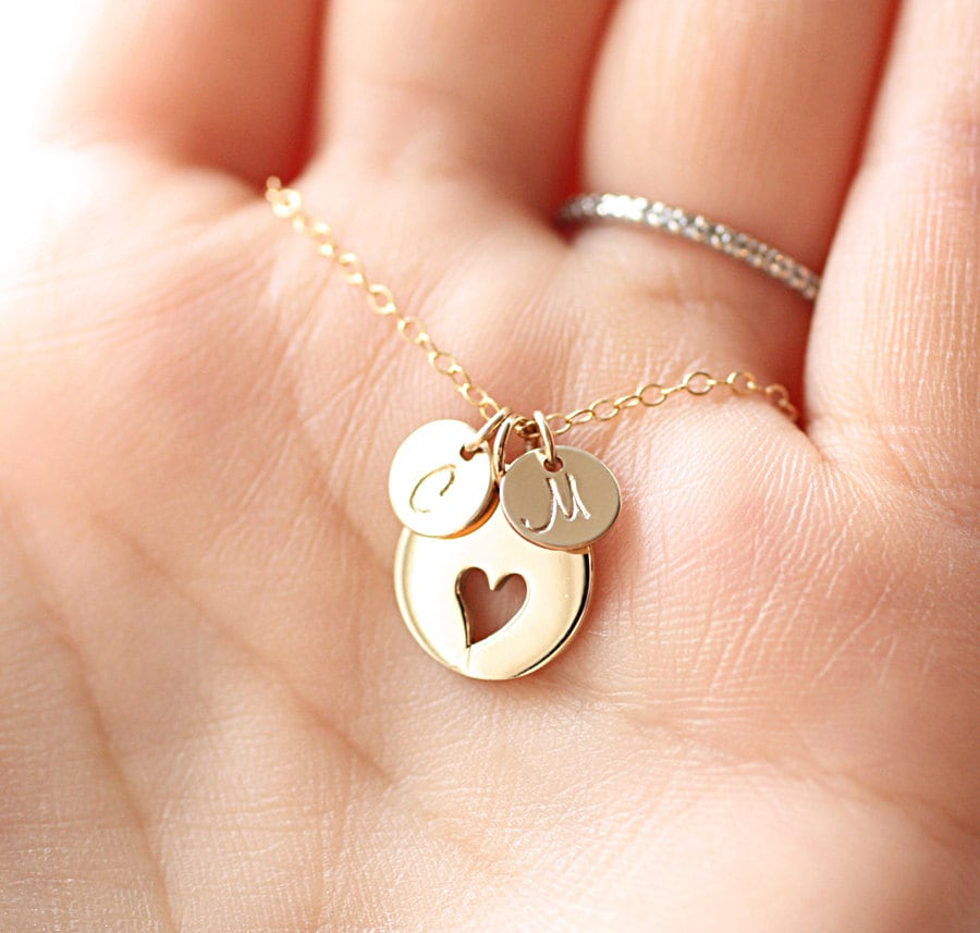 Mother Of The Bride Jewelry: Personalized Mother's Necklace Initial Charms Bridal