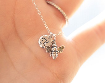 Tiny Bee Necklace, Sterling Silver, Initial Charm Necklace, Personalized Necklace HoneyBee Necklace, Dainty Everyday Jewelry