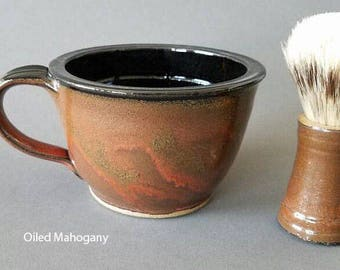 2 Piece Shaving Bowl and Brush Set COLOR Options Large Handled MADE to ORDER
