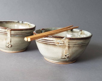 Set of 2 Large Triangular Rice and Noodle Bowls Chopstick Notches and Thumb Rest in Tan Brown