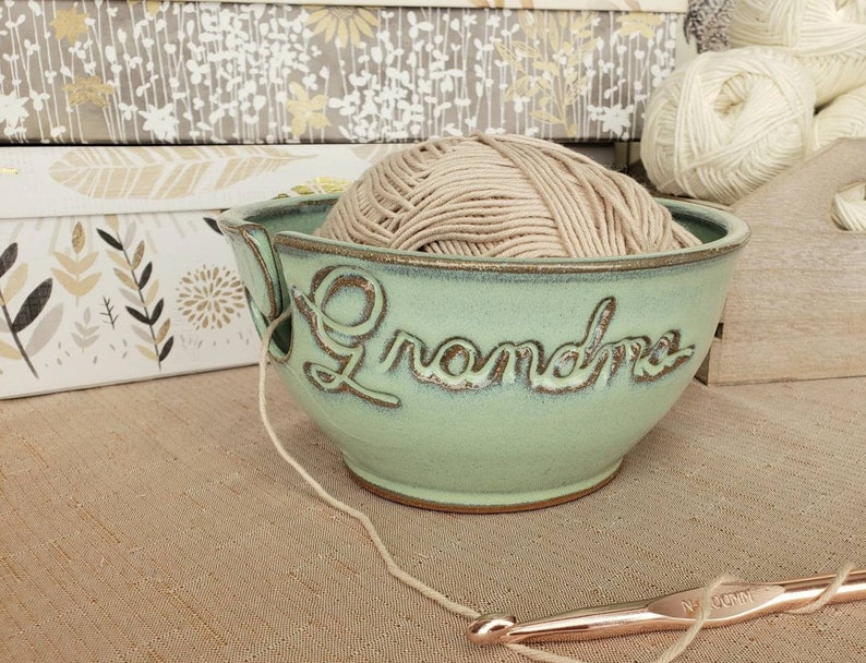 Personalized Yarn Bowl in Soft Green Finish Custom Pottery image 0
