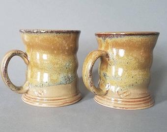 Set of 2 Spiral Twist Coffee Mugs with Honeyed Ginger Speckled Glaze
