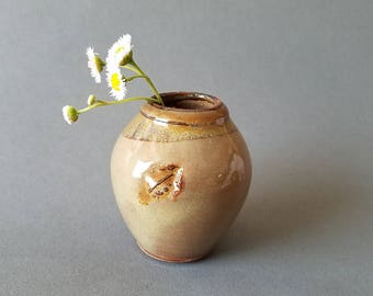 Leaf Imprint Little Mother Pot for Wee Flowers in Rustic Tones Miniature Handmade Pottery