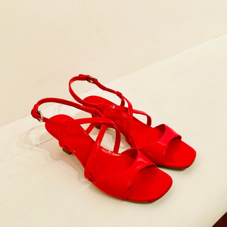 249238f5f657 LOLLY Vintage Etienne Aigner Red Patent Leather Sandals Ladies