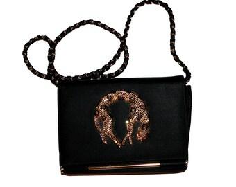 4d99e9a474f4 Vintage Rhinestone Leopard Purse - Black rhinestone panther leopard vintage  80 s purse glamorous hollywood glamour