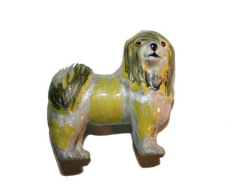 Vintage Dog Brooch - English Sheep Dog - Hand Painted