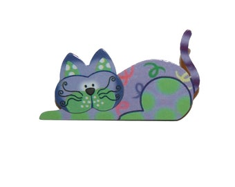 90s Cat Brooch -  colorful vintage cat lover cat gift cat brooch cat lady