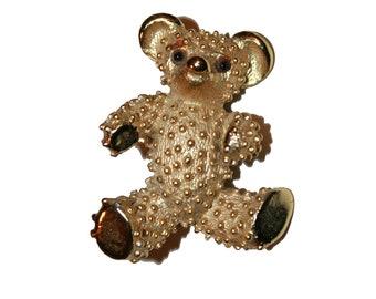 Vintage Gold Teddybear Brooch - gold textured bear brooch costume jewelry