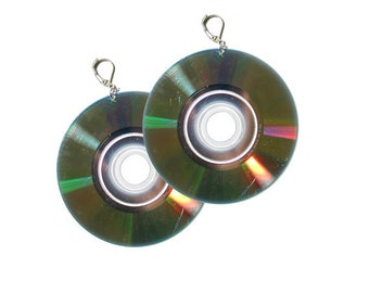Mini Disc CD Compact Disc Earrings - Cyber Punk 90's Inspired Music Lover Jewelry Large Statement Earrings Floppy Disc minidisc earrings