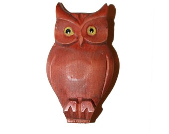 Vintage Large Wood Owl Brooch - unique carved wood brooch owl brooch lucky owl