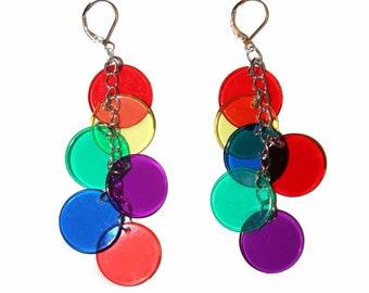 Clown Dot Dangles - colorful clown earrings polka dot earrings dot earrings circle earrings kitsch earrings