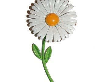 Big Vintage Enamel Flower Brooch - 70s pin brooch Green Yellow Chartreuse enamel daisy flower huge pin