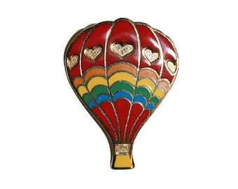 Vintage Hot Air Balloon Enamel Pin - large cute hearts hot air balloon pin collectible enamel pin