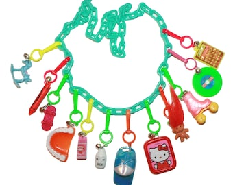 80s Bell Charm Necklace - colorful plastic chunky chain charm necklace charms 90s collectible bell charms plastic charms 80s party