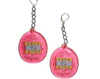 Y2K Digital Pet Earrings - Vintage inspired digi pet earrings 90s toy kitschy kitsch earrings