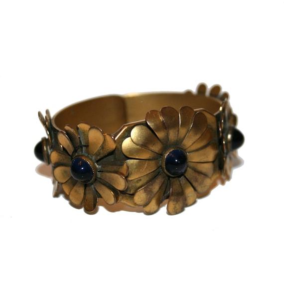 Cuff Bracelet Flower Jewelry BR121 Flower Bracelet Gemstone Bracelet Gemstone Cuff Flower Cuff Western Jewelry Gypsy Bracelet