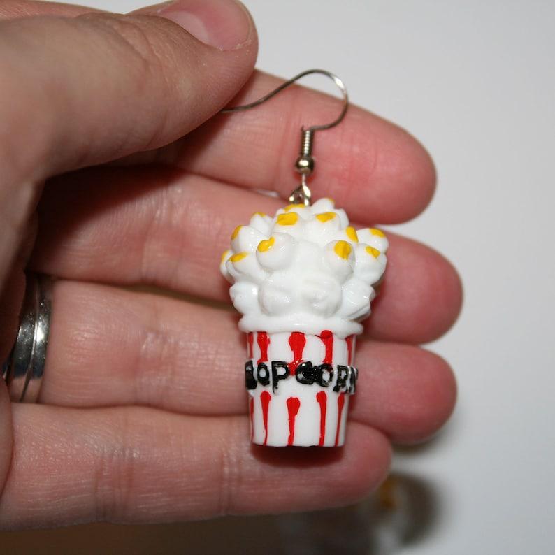 Super Kitsch Popcorn Earrings vintage kitsch popcorn movies drive in movies earrings junk food kawaii mini food earrings movie date