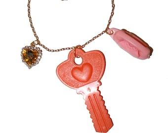 Kitschy Key Phone Charm Necklace - vintage charms unique charms orange pink charms kitsch kitschy