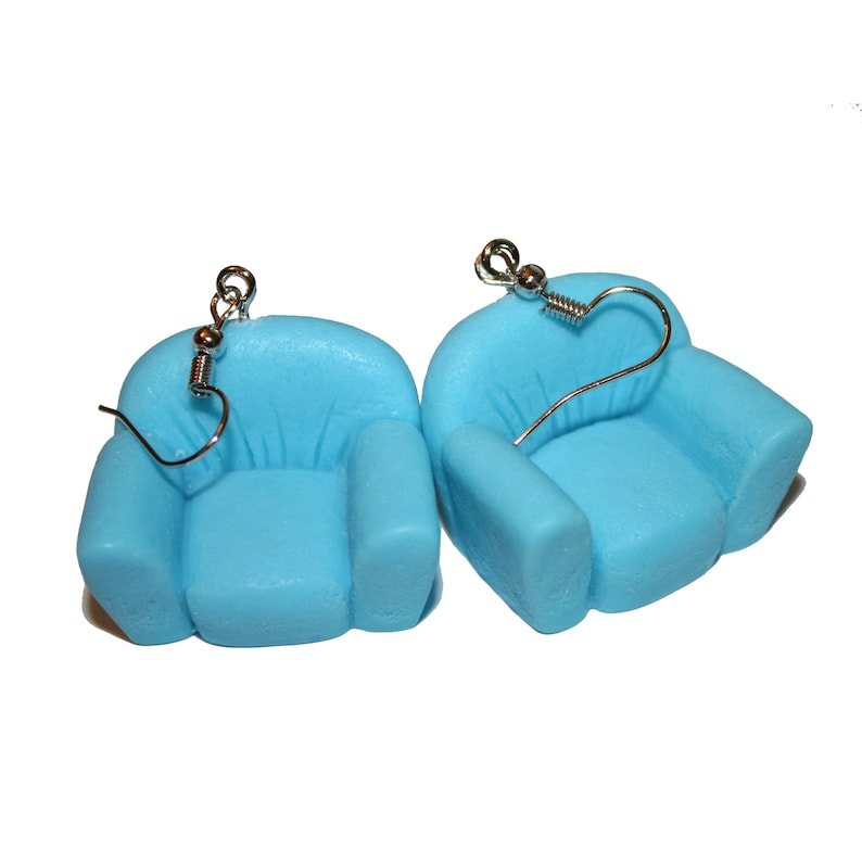 cute pastel pink blue mini furniture couch armchair mini earrings kawaii cute Pastel Comfy Couch Earrings