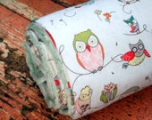 Minky Baby Blanket-Spotted Owl and Sage Green Minky for - Personalization Options Available - Made To Order
