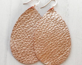 Rose Gold Metallic Teardrop Leather Earrings