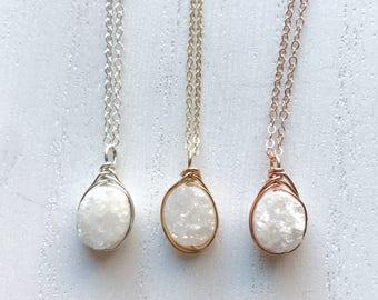 White Ice Druzy Necklace