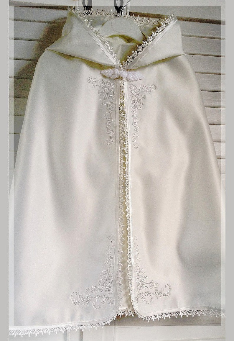 Baby Baptizm Baptism Christening cape in white or ivory satin with intricate embroidery and hood