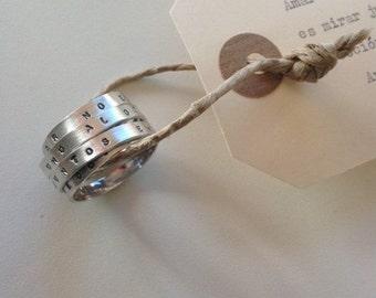 Silver Ring-Book 'love' { Antoine de Sanit-Exupéry }
