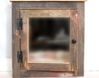 Rustic Barn Medicine Cabinet With Mirror Made From 1800s Barn Wood Wall  Mount