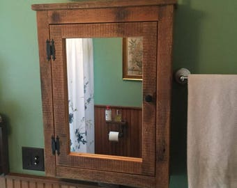 Barn Medicine Cabinet With Mirror Made From 1892 Barn Wood