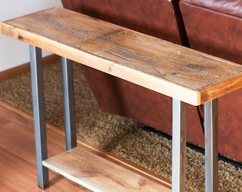 Rustic Industrial Barn Wood Console Table Reclaimed 1800s Barn Wood And  Iron Legs