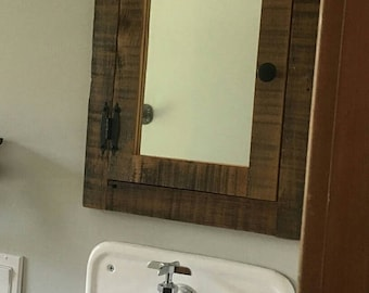 Recessed Barn Wood Medicine Cabinet With Mirror Made From 1800s Rustic Reclaimed  Barn Wood
