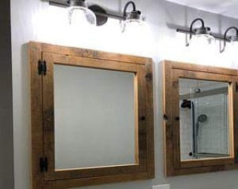 Rustic Recessed Barn Wood Medicine Cabinet With Mirror Made From 1800 S  Barn Wood