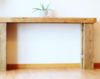 rustic Barn wood Sofa or console table made from 1800s reclaimed  barn wood