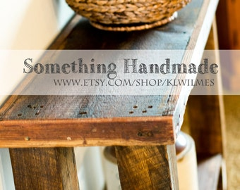 Barn wood Sofa or console table made from 1892 reclaimed  barn wood