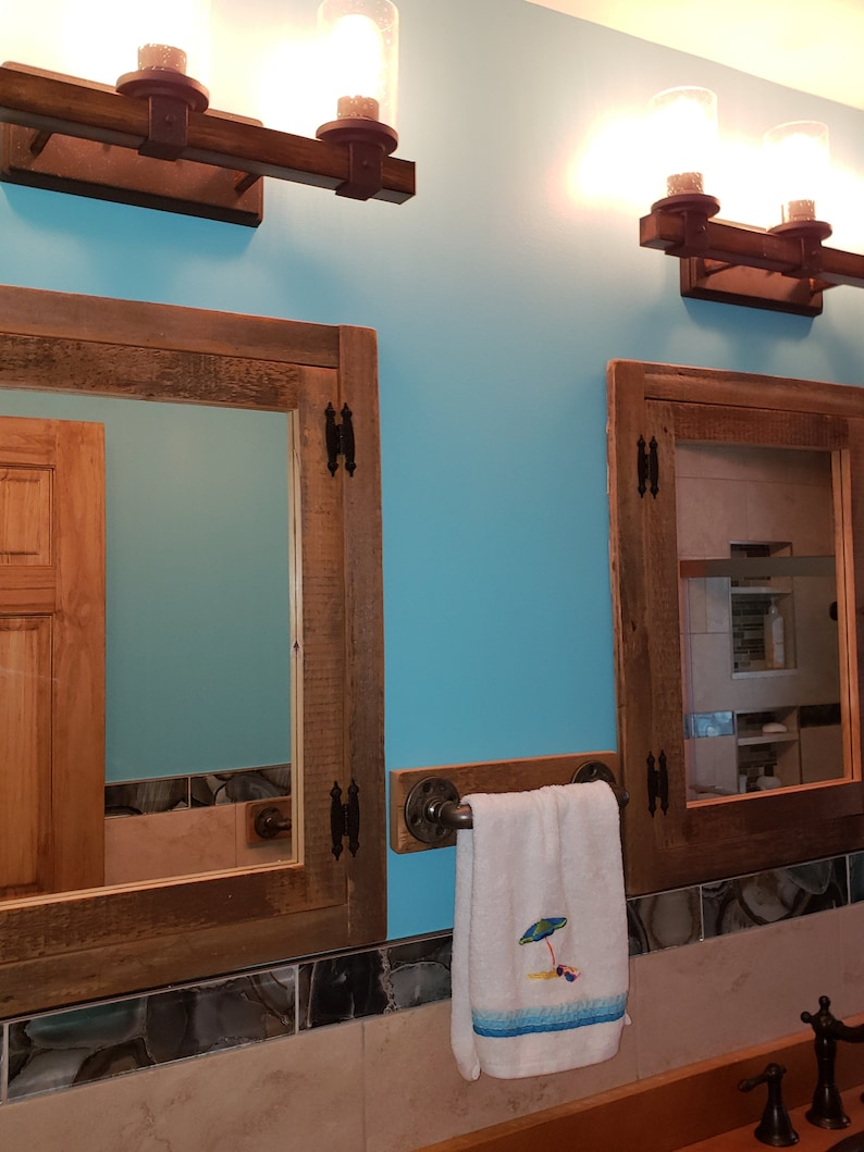 Rustic Recessed Barn Wood Medicine Cabinet With Mirror Made Etsy