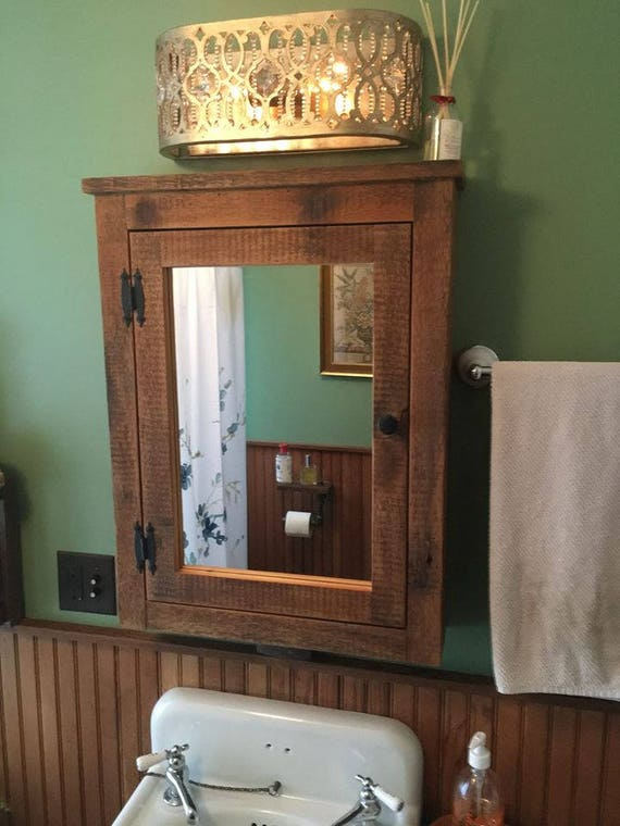 Rustic Medicine Cabinet With Mirror Made From 1800s Barn Wood Etsy
