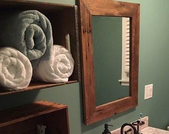 Barn wood mirror reclaimed, rustic  framed mirror 1800s  barn wood weathered salvaged barn wood mirror -rustic-home decor