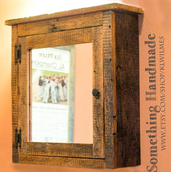 barn wood medicine cabinet with mirror made from 1800s etsy. Black Bedroom Furniture Sets. Home Design Ideas