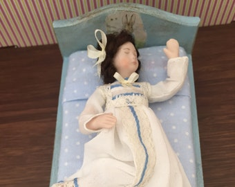 REDUCED-OOAK 1/12 th scale dolls house doll-Afternoon nap