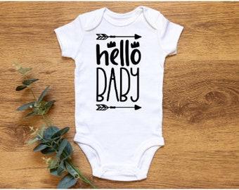 Hello Baby Baby Gift- Newborn Gift- Funny Gift- Newborn Vest- New Baby Gift- Baby Boy- Baby Girl- Onesie