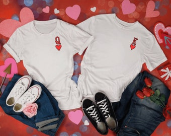 King and Queen Of Hearts T-shirt, Queen Tee, Red Queen Tee, Playing Cards,king, Queenie T-Shirt,  Valentines Gift, His & Hers Clothing