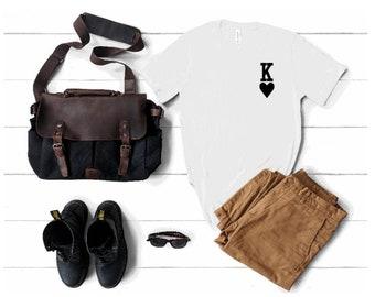 King Of Hearts T-shirt, King Tee, Black King Tee, Playing Cards, Vegas King, My King,  Valentines Gift, King Clothing, Gambling T-Shirt
