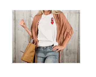 Queen Of Hearts T-shirt, Queen Tee, Red Queen Tee, Playing Cards, Alice In Wonderland, Queenie T-Shirt,  Valentines Gift, Queens Clothing,