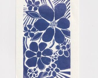 Linocut Print Flowers // A6 Art Original Lino Block Print
